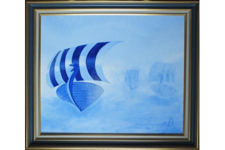 Le drakkar bleu - Peinture - 10doigts.fr