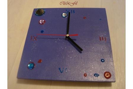 Horloge carrée violette - Déco du bois - 10doigts.fr