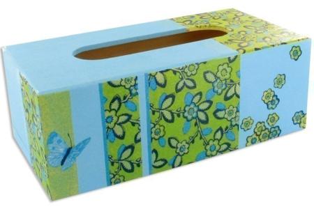 Boîte à mouchoirs champêtre - Vernis collage papiers, serviettes - 10doigts.fr