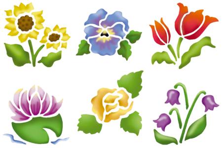 Pochoirs fleurs - Set de 6 - Pochoir Nature – 10doigts.fr