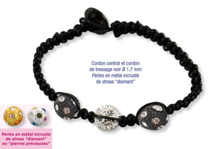 Shamballas... avec des perles en métal incrusté de strass diamant - Bracelets Shamballas – 10doigts.fr