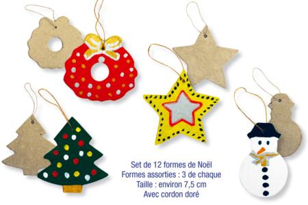 Set de 12 formes de Noël  en carton papier mâché, avec cordon doré  - Noël, Pâques, carnaval – 10doigts.fr