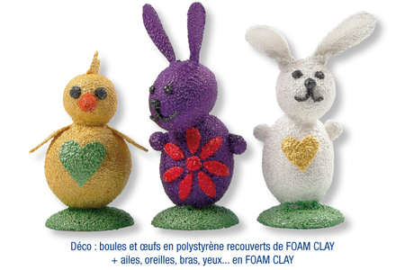 Lapins et poussin de Pâques en FOAM CLAY - Modelage – 10doigts.fr