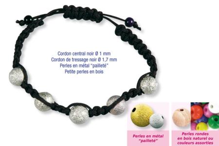 Shamballas... avec perles en métal pailleté + perles en bois - Bijoux Shamballas – 10doigts.fr