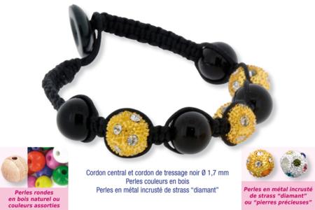 Shamballas... avec perles en bois + perles métal avec strass diamant - Bijoux Shamballas – 10doigts.fr