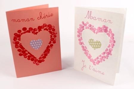 Carte coeur avec empreintes de doigts - Fête des Mères – 10doigts.fr