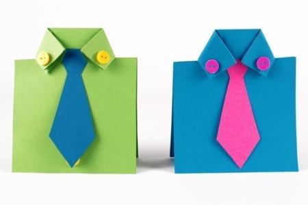 Carte cravate et chemises en papier - Fête des Pères – 10doigts.fr