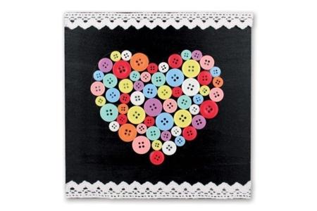 Tableau coeur en boutons - Fête des Mères – 10doigts.fr