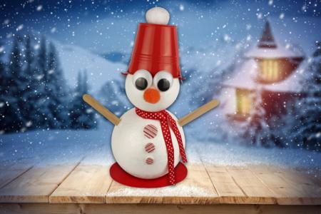 Bonhomme de neige avec seau sur la tête - Noël – 10doigts.fr