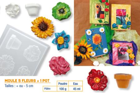 Moule de 6 fleurs + 1 pot - Moules – 10doigts.fr