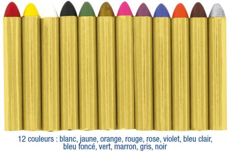 Crayons-cire de maquillage- Set de 12 couleurs - Maquillage – 10doigts.fr