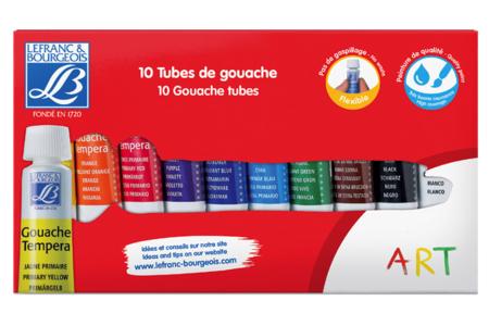 Gouaches Lefranc & Bourgeois - 10 tubes de 10 ml - Gouaches d'écoliers – 10doigts.fr