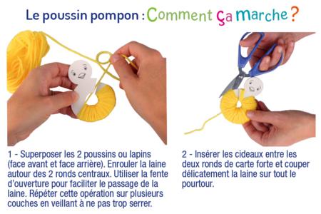 Lapin et poussin en pompons p ques 10 doigts - Poussin en pompon ...