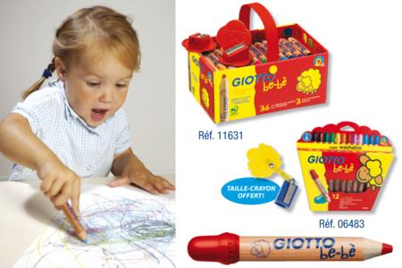 Etui de 12 ou coffret de 36 crayons de couleur à la cire Giotto Bé-bé - Crayons graphite et couleur – 10doigts.fr