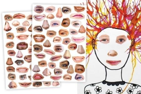 Gommettes visages réalistes et rigolos - Expressions et Visages autocollants – 10doigts.fr