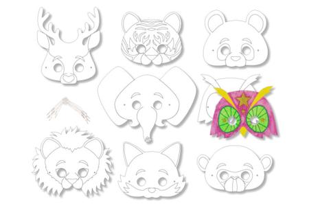 Masques animaux à décorer - Set de 8 - Masques – 10doigts.fr