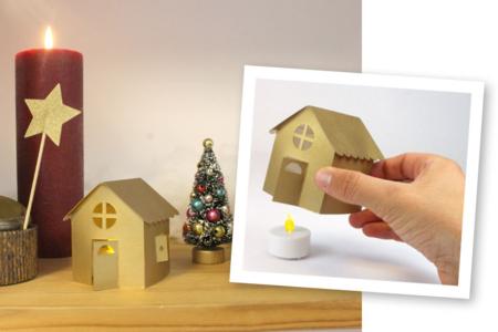 Photophores maison en carte forte + bougies électriques - Lot de 2 - Bougeoirs et photophores – 10doigts.fr