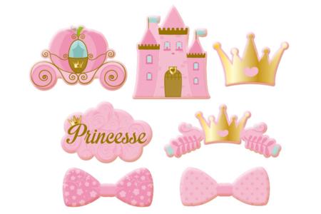 Motifs Princesses en bois décoré - Motifs plats ou 3D en bois décoré, en set – 10doigts.fr