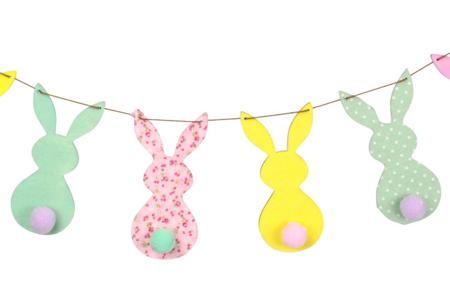 Kit guirlande 6 lapins en bois - Motifs brut – 10doigts.fr
