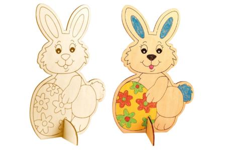 Lapin en bois naturel à colorier - Pâques – 10doigts.fr