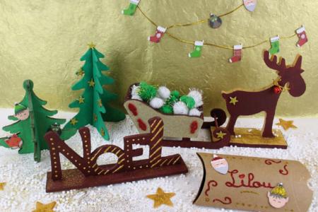 Grand traîneau en bois naturel - Noël – 10doigts.fr
