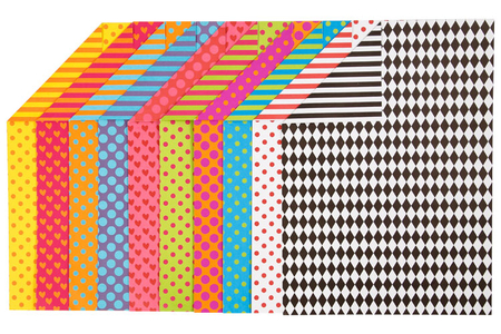 Papiers motifs géométriques - 20 feuilles imprimées - Papiers motifs géométriques – 10doigts.fr