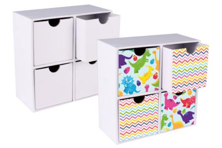Meuble de rangement en carton blanc - Supports Bureau en carton – 10doigts.fr