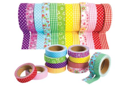 Tissus adhésifs assortis - Set de 12 rouleaux - Masking tape, washi tape – 10doigts.fr