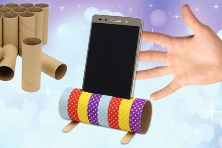 Support pour smartphone avec un rouleau en carton - Activités enfantines – 10doigts.fr