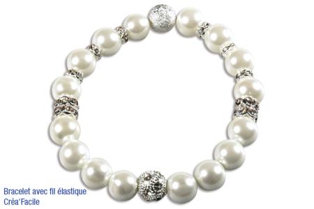 Perles blanches nacrées - Qualité supérieure - Perles nacrées – 10doigts.fr
