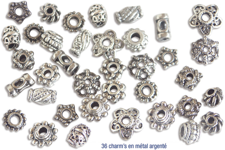 Perles intercalaires argentés - Environ 36 perles - Perles intercalaires & charm's – 10doigts.fr