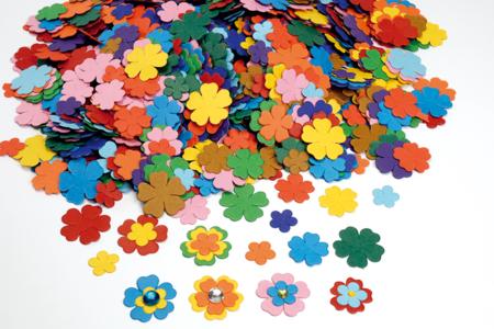 Fleurs en papier carte légère - 3000 pièces - Fleurs et feuilles – 10doigts.fr