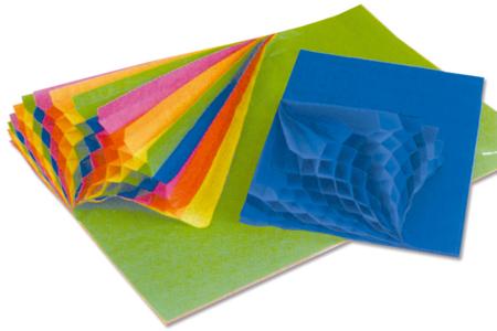 Papier alvéolé coloré - Set de 10 feuilles - Papier alvéolé, accordéon – 10doigts.fr