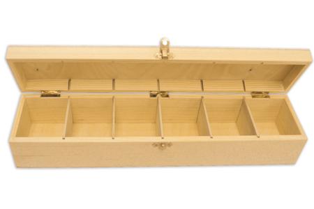 Boîte en bois à 6 cases - Boîtes et coffrets – 10doigts.fr
