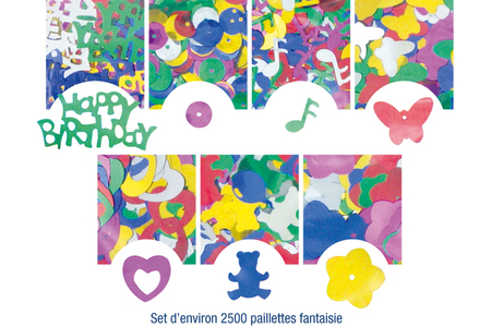 Set d'environ 2500 paillettes fantaisie formes, couleurs et tailles assorties  - Paillettes fantaisie – 10doigts.fr