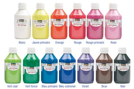 Peinture acrylique mate 80 ou 250 ml - Acryliques scolaire – 10doigts.fr