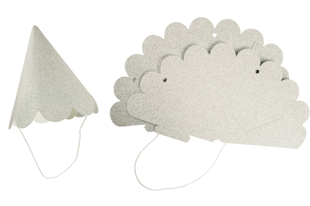 Chapeaux double face, argent et blanc - Lot de 4 - Mardi gras, carnaval – 10doigts.fr