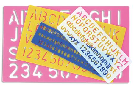 Règles Pochoirs Lettres & Chiffres - Set de 4 modèles - Pochoir Alphabet – 10doigts.fr