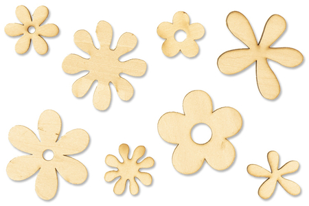 Fleurs en bois naturel - Motifs brut – 10doigts.fr