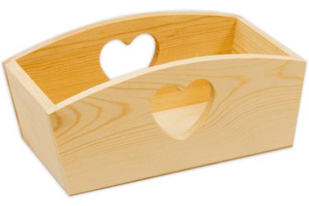 Corbeille rectangulaire en bois découpe cœur - Corbeilles et paniers – 10doigts.fr