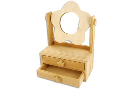 Coiffeuse fleur en bois avec 2 tiroirs - Miroirs – 10doigts.fr