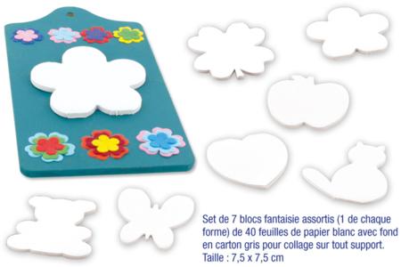 blocs notes de motifs en papier blanc - 40 feuilles - Support blanc – 10doigts.fr
