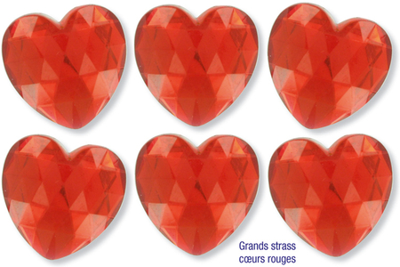 Méga strass coeurs rouges - 6 pièces - Strass – 10doigts.fr