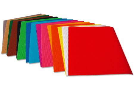 Feuilles de carton ondulé - 10 couleurs assorties - Carton ondulé – 10doigts.fr