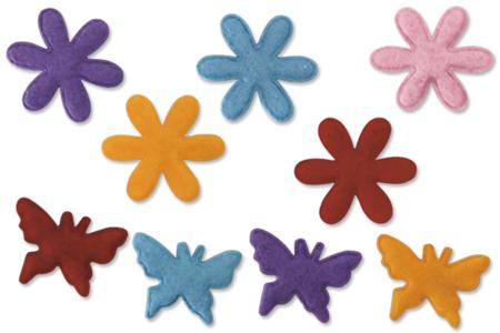 Set de 20 fleurs et papillons en feutre, couleurs assorties - Feutrine – 10doigts.fr