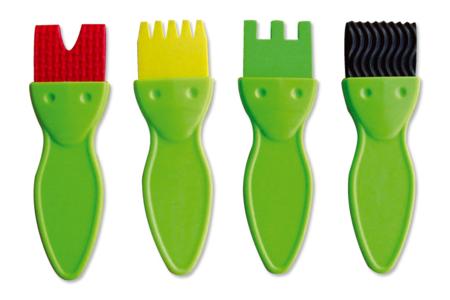 Brosses en caoutchouc - Set de 4 formes - Brosses – 10doigts.fr