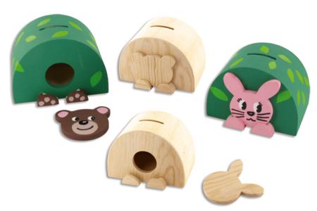 Tirelires en bois - Set ourson + lapin - Tirelires – 10doigts.fr