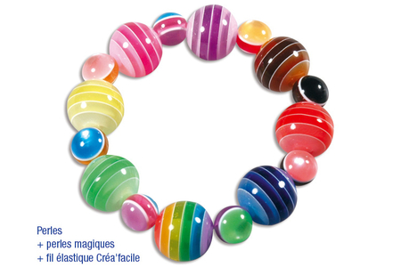 Grosses perles rondes bayadères - 20 perles - Perles acrylique – 10doigts.fr