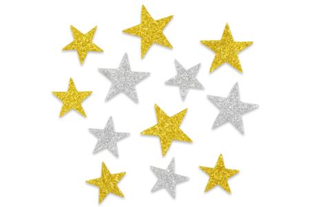 Etoiles adhésives caoutchouc mousse pailleté -72 pièces - Stickers en caoutchouc souple – 10doigts.fr