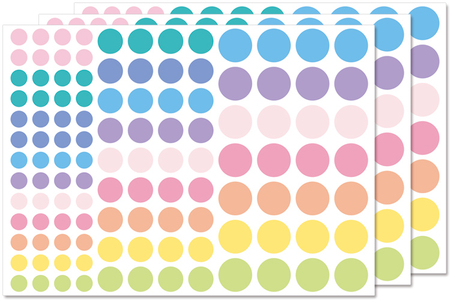 Gommettes rondes couleurs pastels - Gommettes géométriques – 10doigts.fr